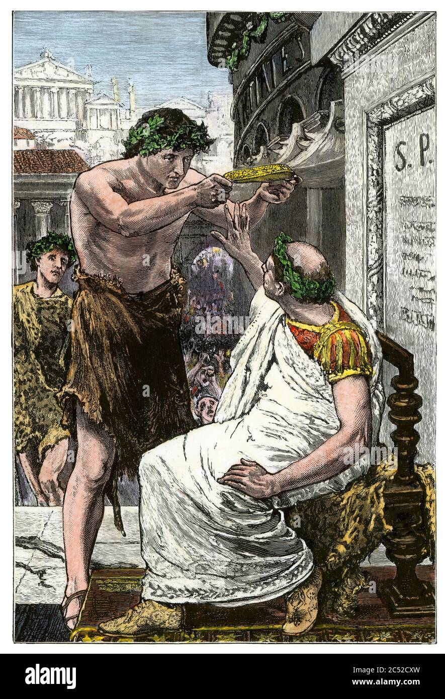 Marc Antony offering to crown Julius Caesar, ancient Rome. Hand-colored woodcut Stock Photo