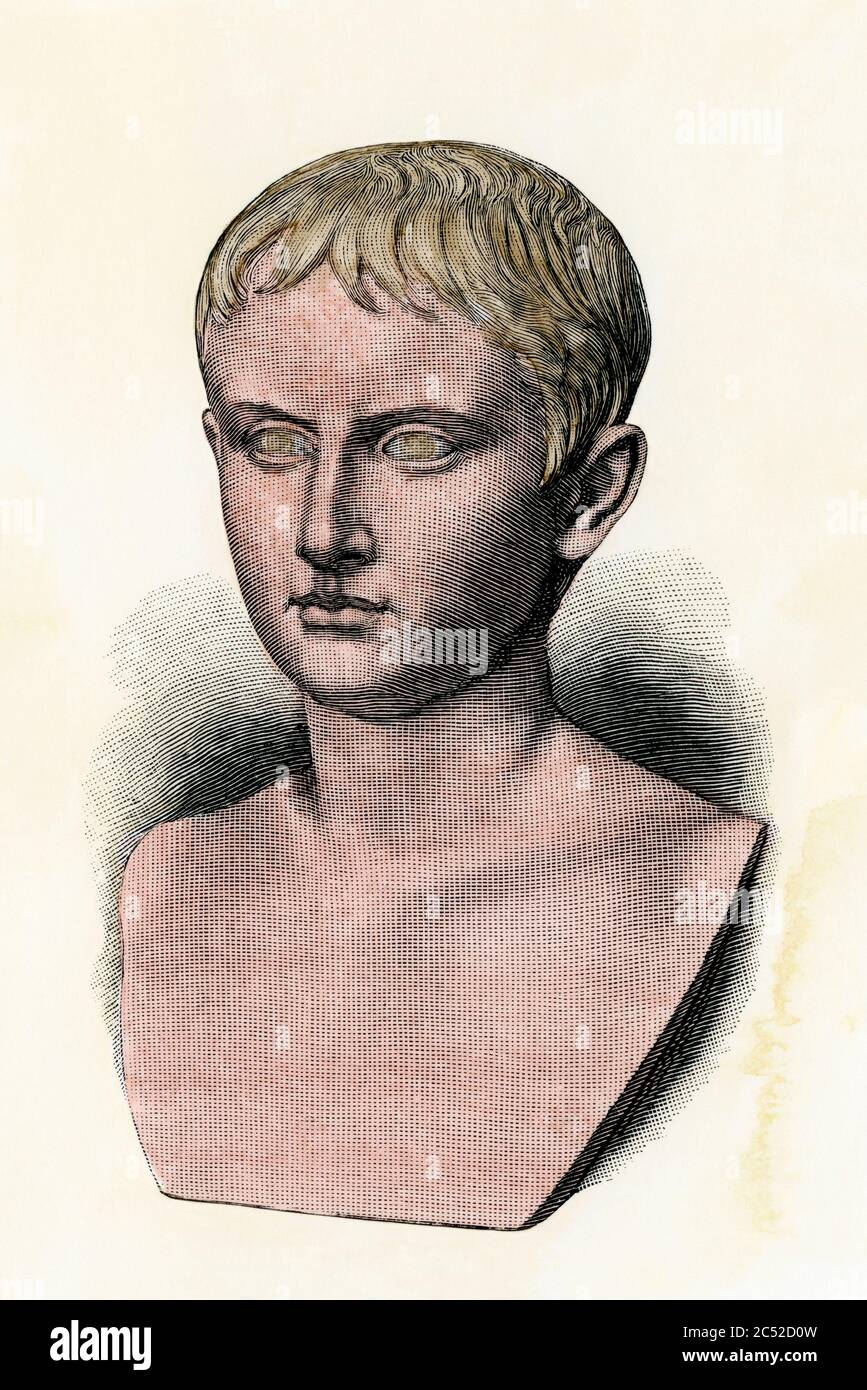 Octavius as a youth, later known as Augustus Caesar. Hand-colored woodcut Stock Photo
