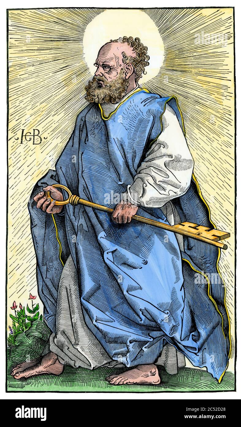 Saint Peter with the key to heaven. Hand-colored woodcut of an illustration by Hans Baldung Stock Photo