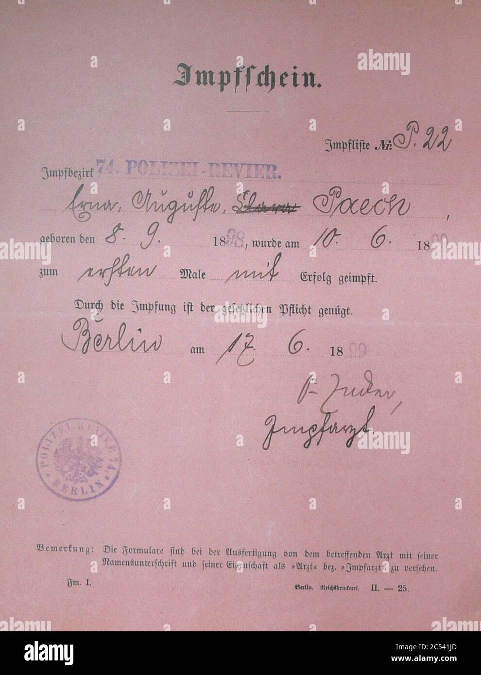 Impfschein 1899. Stock Photo