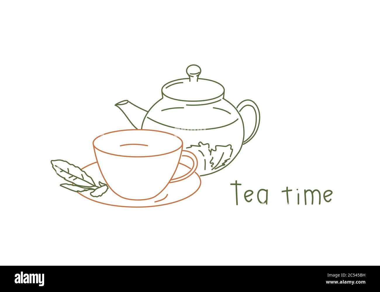 Line Drawing Vector Illustration Of Cup And Saucer With Teapot Tea Time Card Stock Vector Image Art Alamy