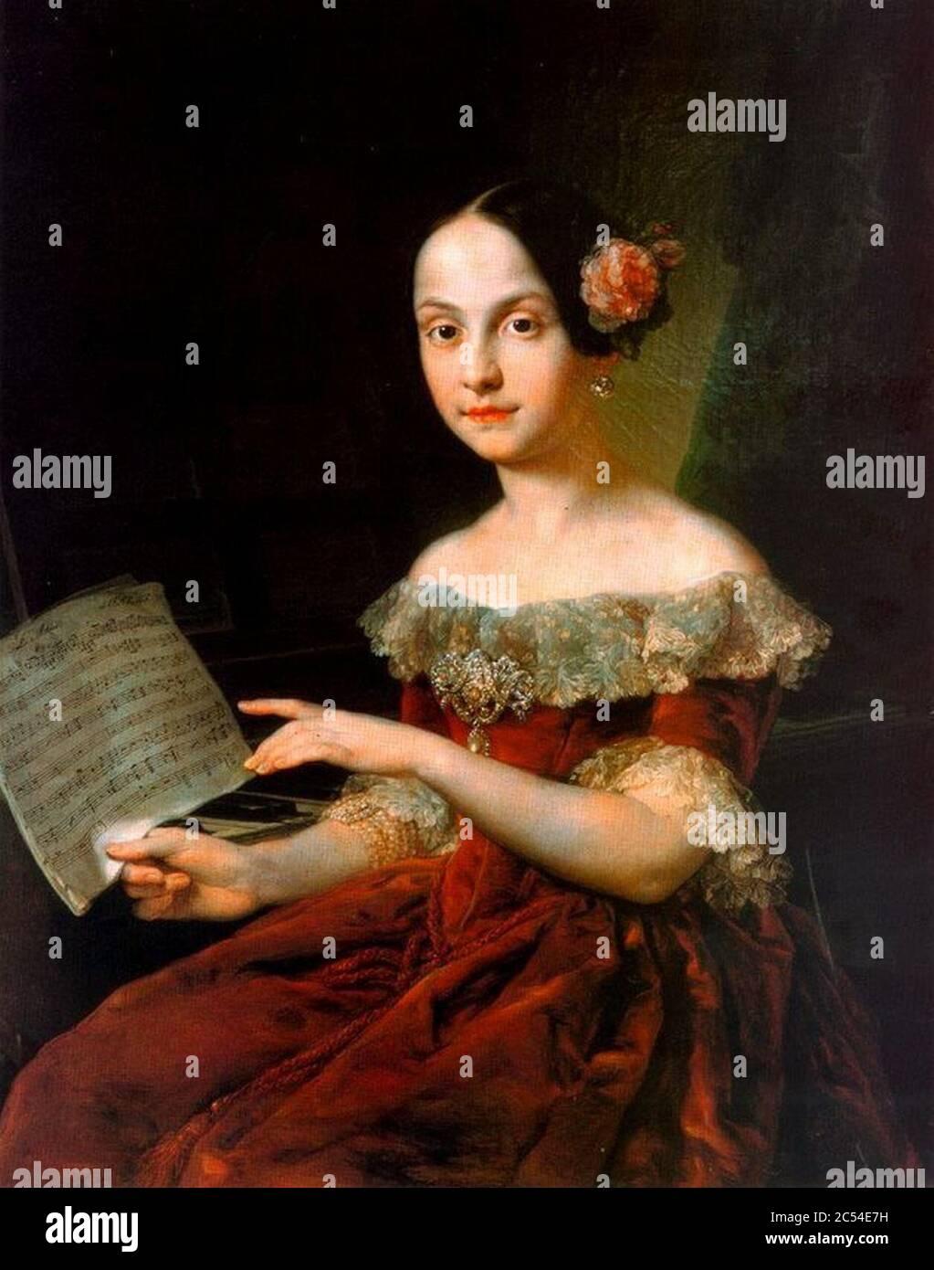 Infanta Luisa Fernanda, niña, estudiando música (Reales Alcáceres de Sevilla). Stock Photo