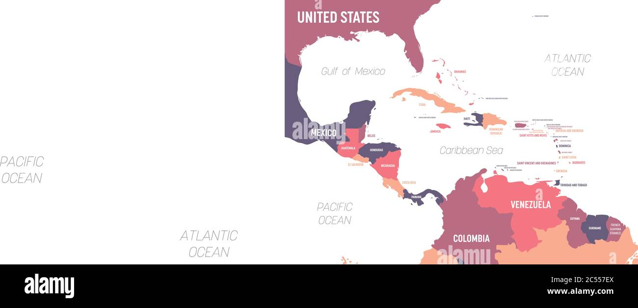 Picture of: Central America Map High Detailed Political Map Central American And Caribbean Region With Country Ocean And Sea Names Labeling Stock Vector Image Art Alamy