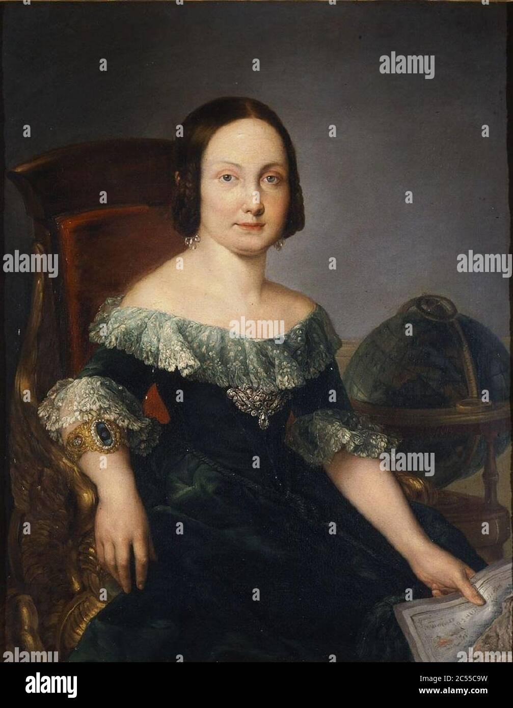 Isabel II estudiando geografía Stock Photo
