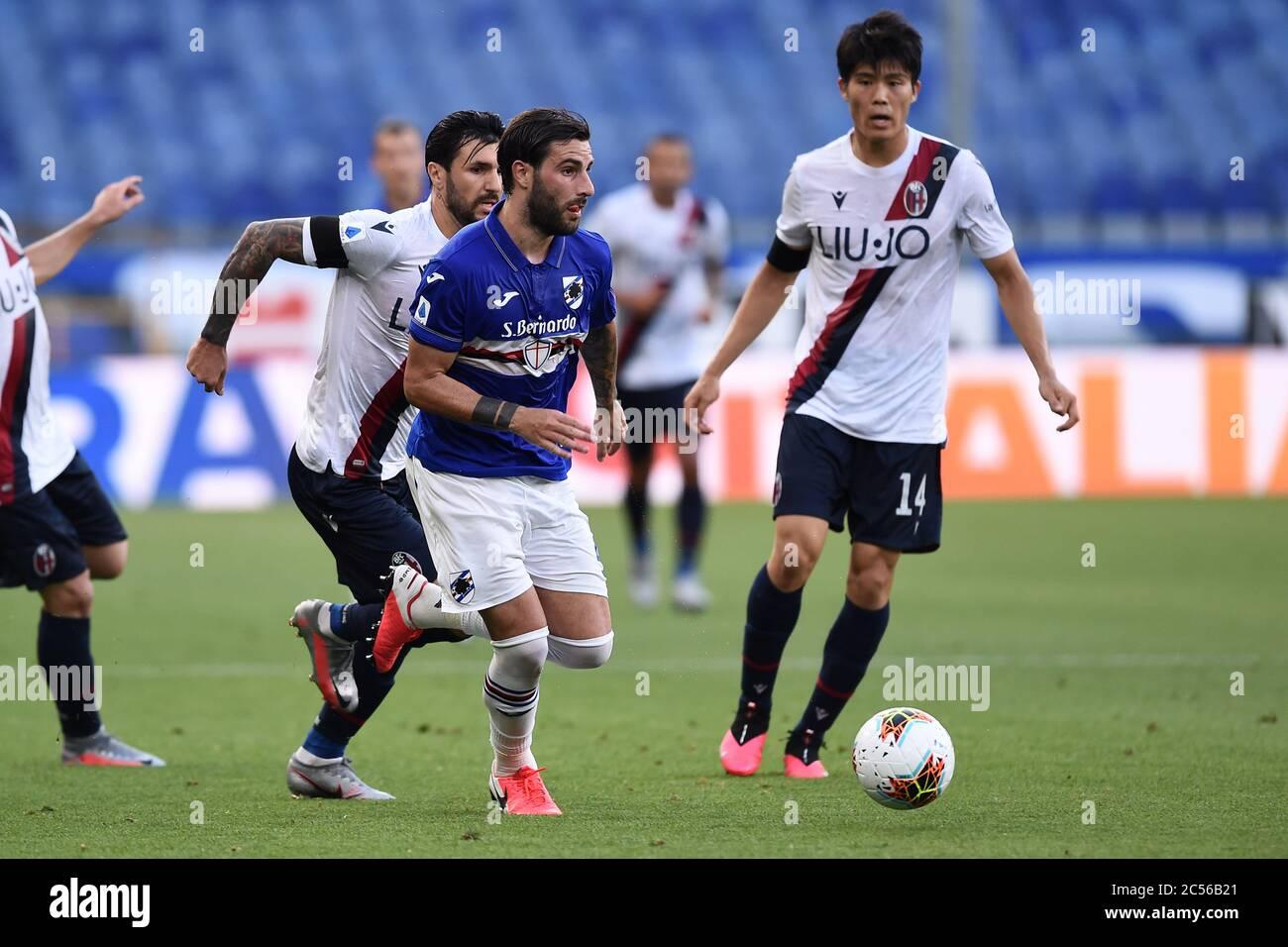 Mehdi Leris Sampdoria Takehiro Tomiyasu Bologna Roberto Soriano Bologna During The Italian Serie A Match Between