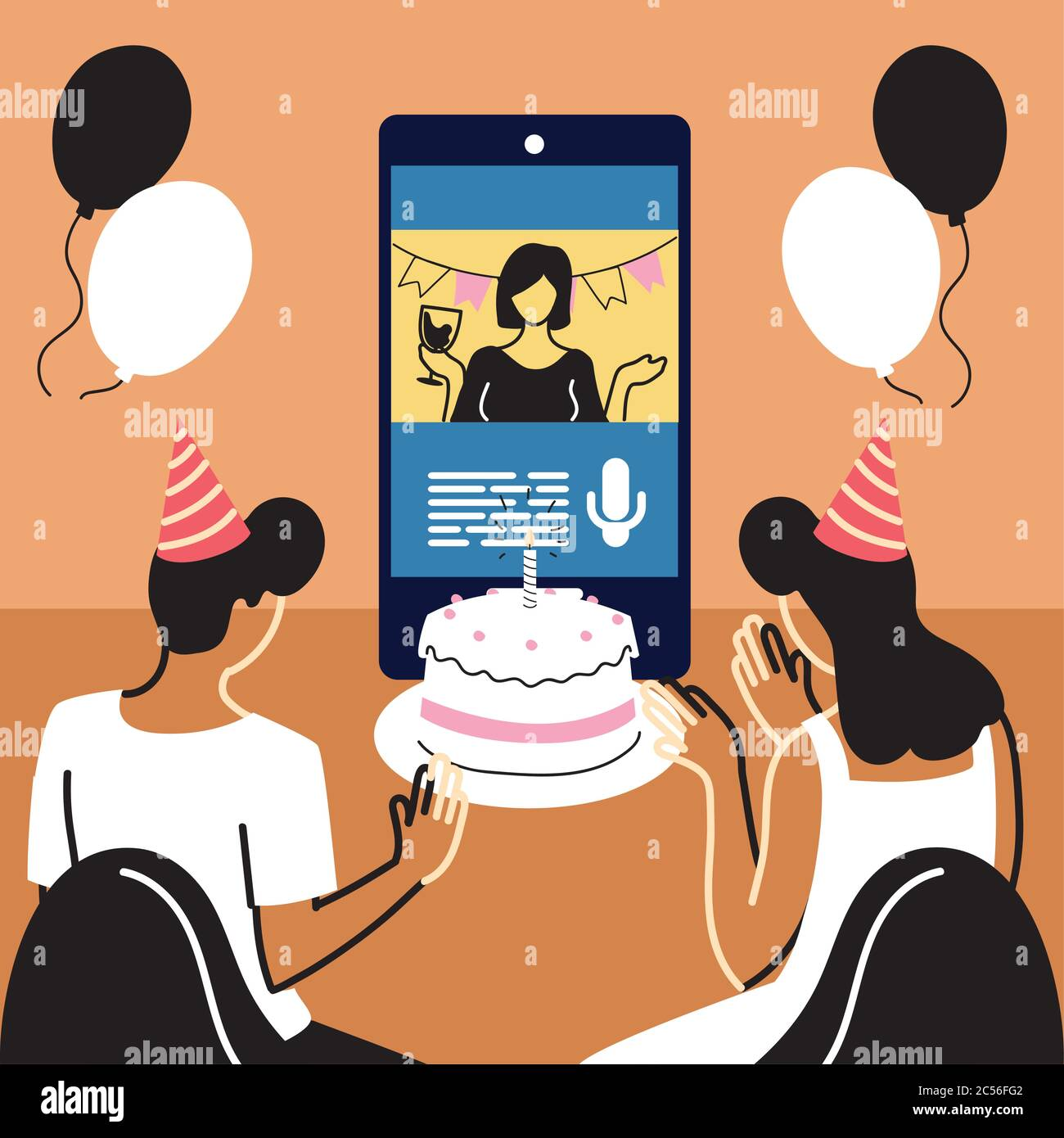 Man And Woman With Party Hat Waving Girl On Smartphone With Cake Design Happy Birthday And Video Chat Theme Vector Illustration Stock Vector Image Art Alamy