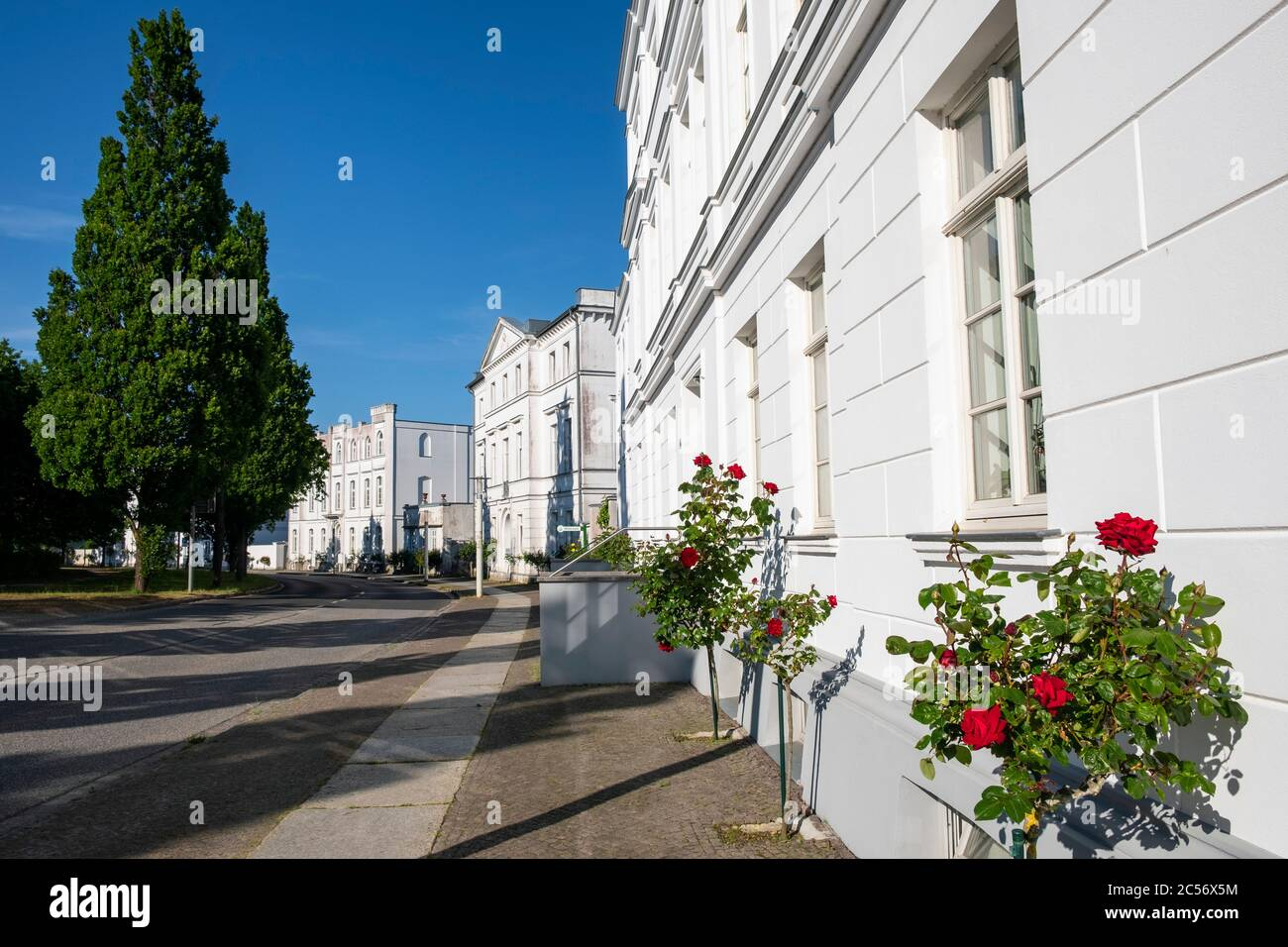 Neoclassical houses at the Circus in the city of Putbus on the german island of Rügen Stock Photo