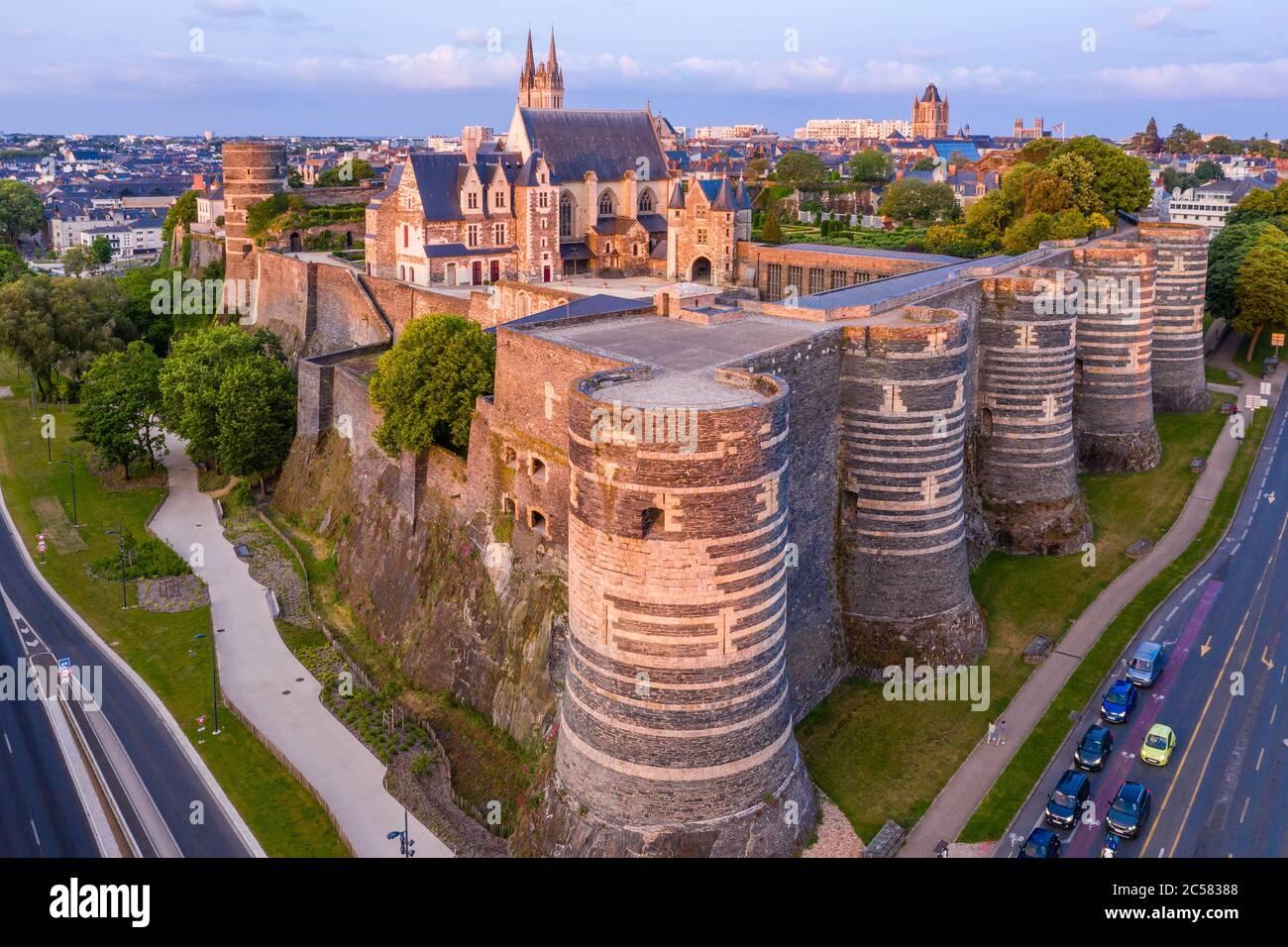 France, Maine et Loire, Angers, the Chateau d'Angers (aerial view) // France, Maine-et-Loire (49), Angers, château d'Angers ou château des ducs d'Anjo Stock Photo
