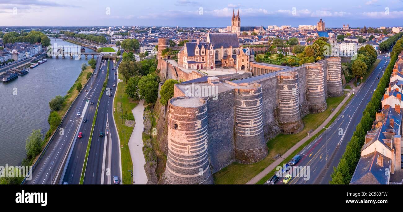 France, Maine et Loire, Angers, the Chateau d'Angers and the Maine River (aerial view) // France, Maine-et-Loire (49), Angers, château d'Angers ou châ Stock Photo