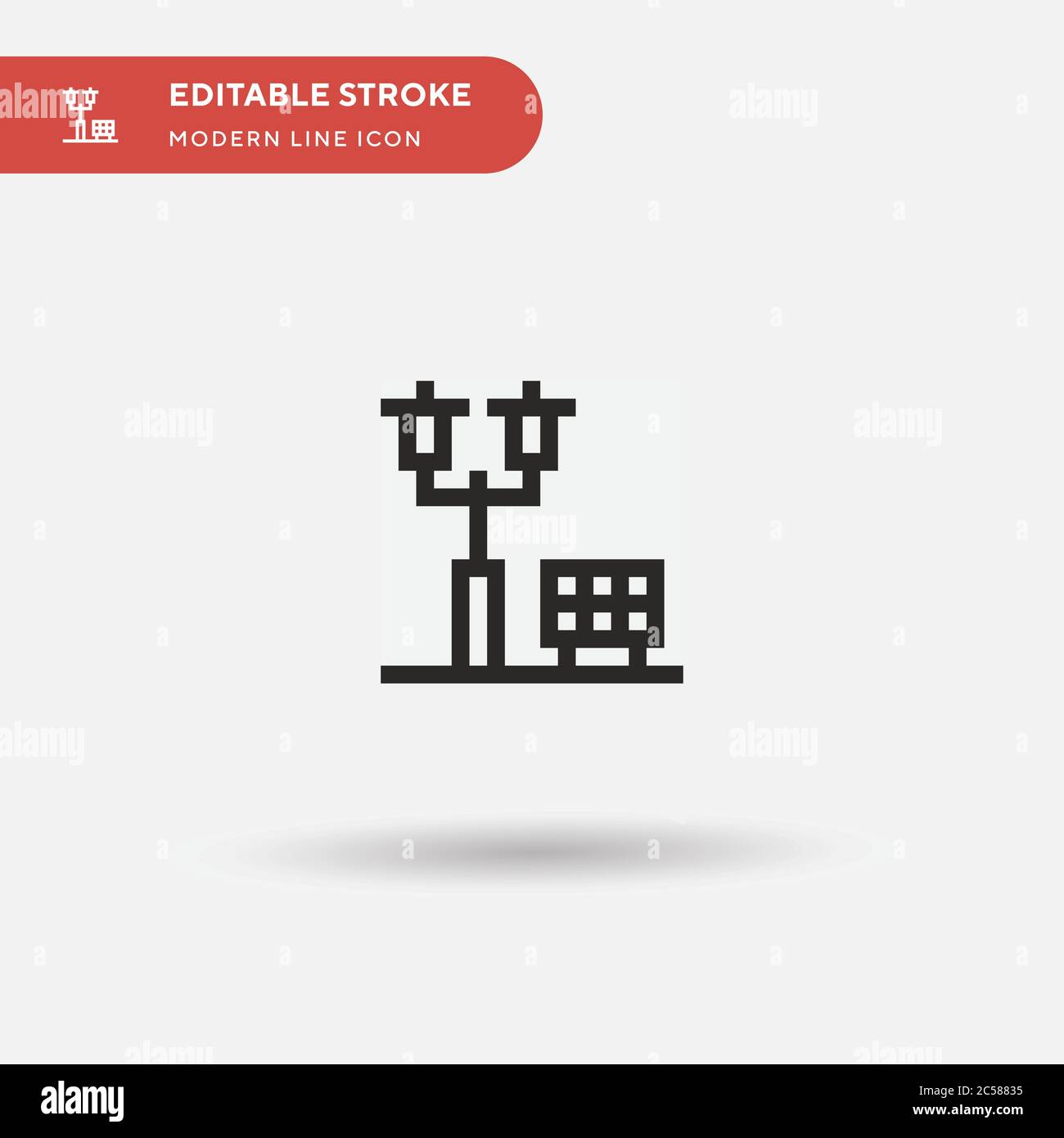 Streetlight Simple vector icon. Illustration symbol design template for web mobile UI element. Perfect color modern pictogram on editable stroke. Streetlight icons for your business project Stock Vector