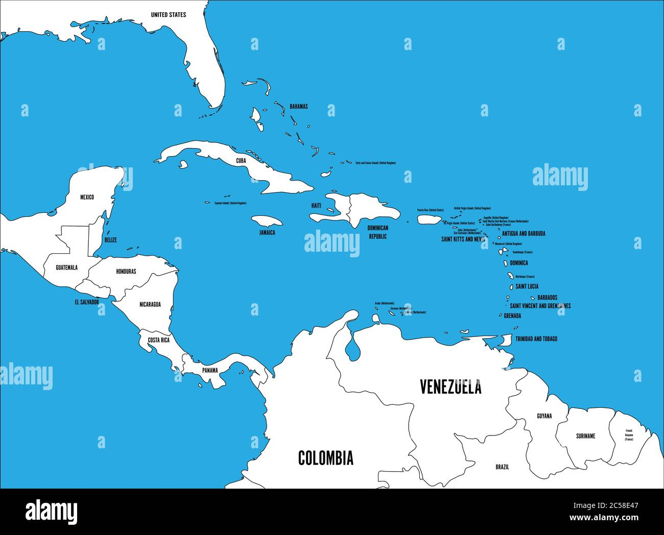 Picture of: Central America And Caribbean States Political Map Black Outline Borders With Black Country Names Labels On Blue Background Simple Flat Vector Illustration Stock Vector Image Art Alamy