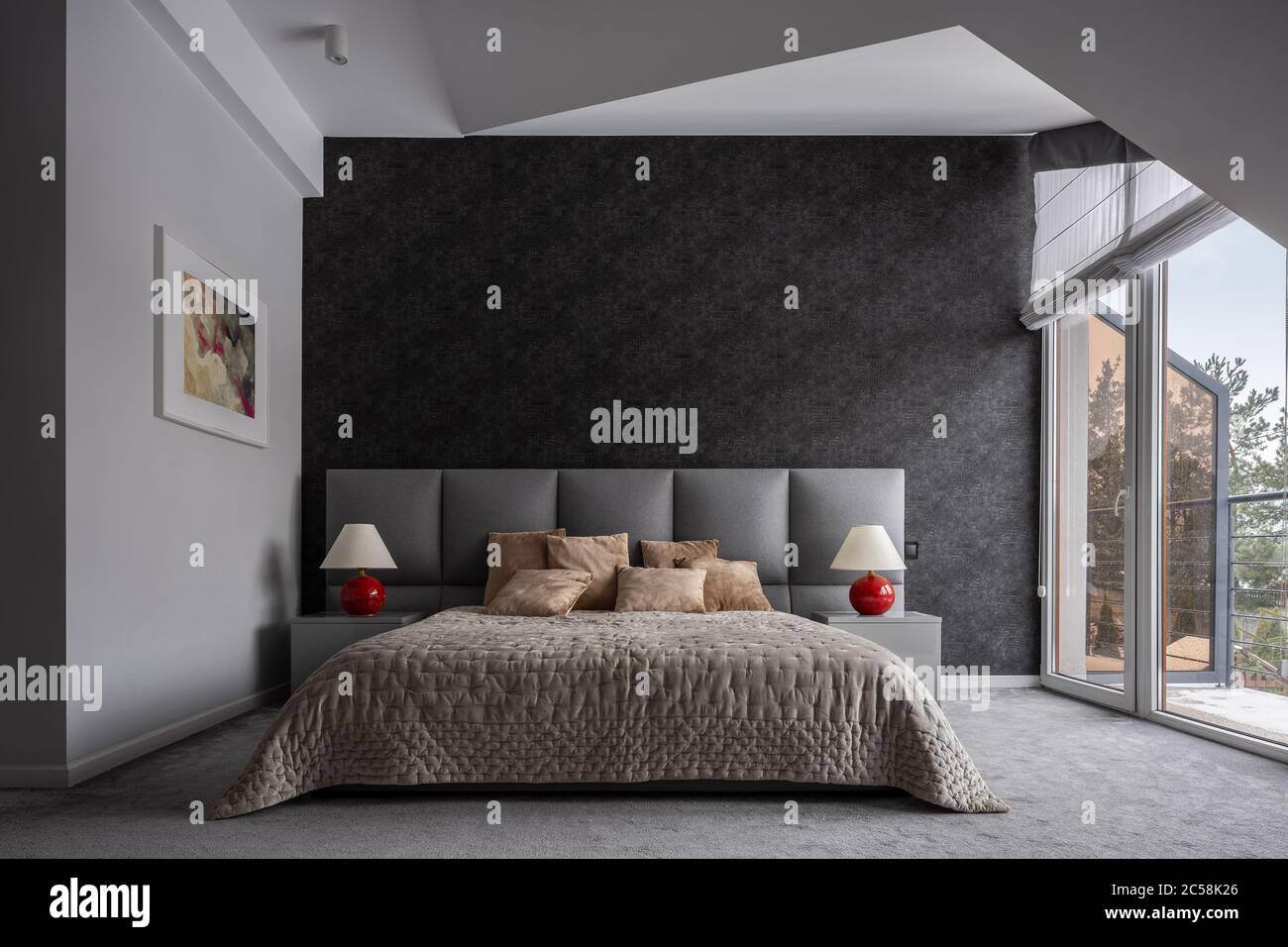 Modern Bedroom With Double Bed Black Wallpaper And Balcony Stock Photo Alamy