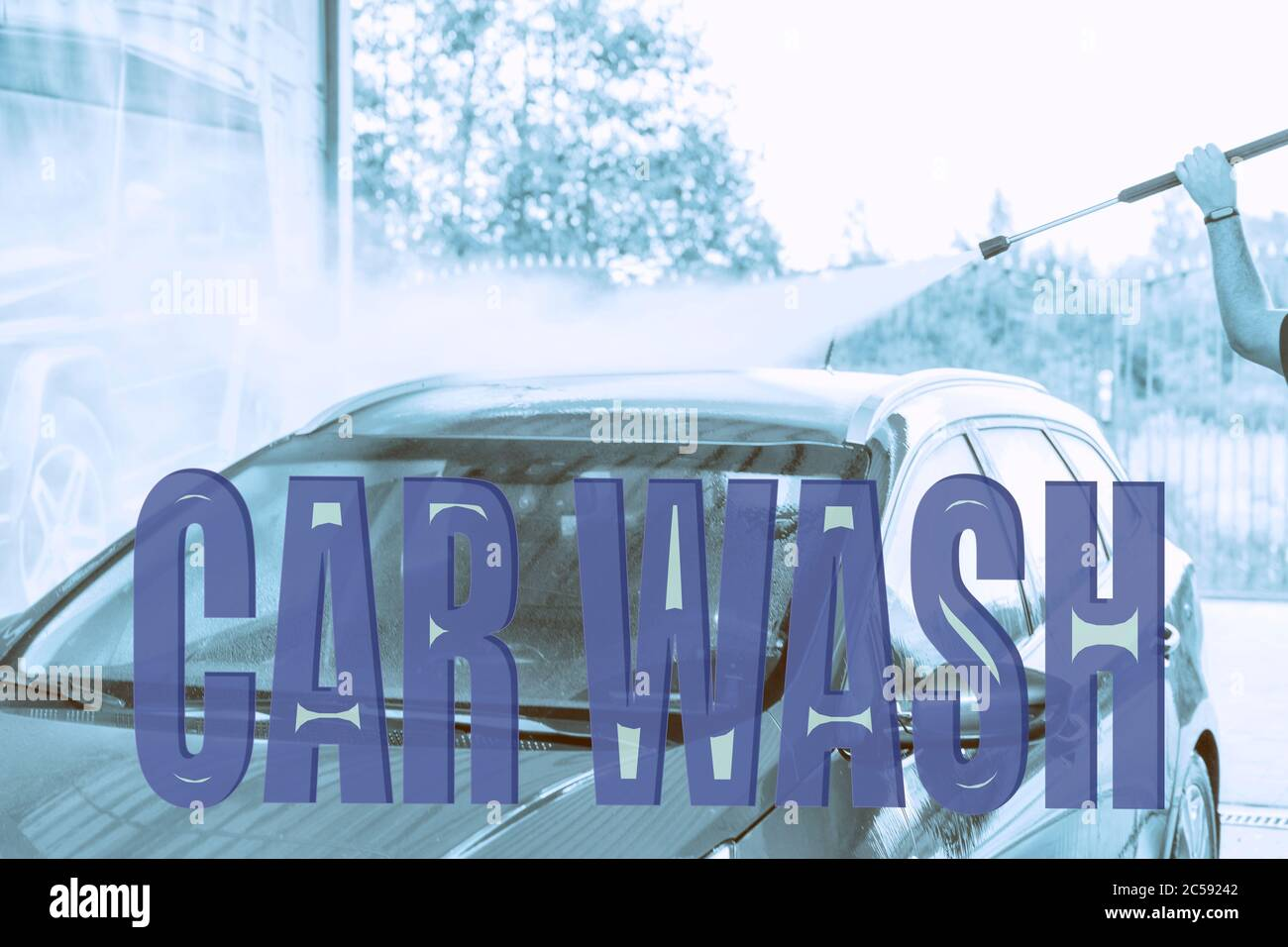 Text Car Wash On The Background Of A Car Wash With A Gun For Washing The Car Stock Photo Alamy