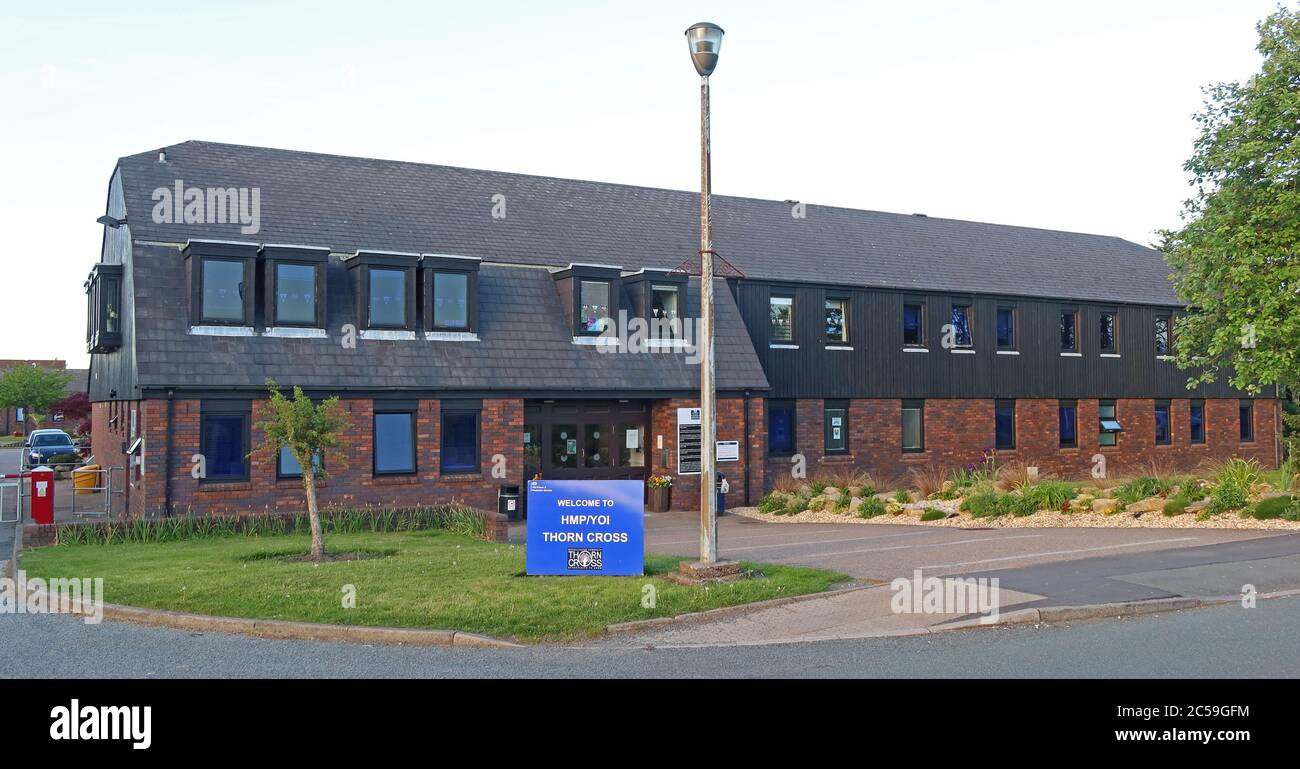 Thorn Cross HMP/YOI, HM Prison Thorn Cross,Category D Adult Male Institution for males aged 21+,Arley Rd, Appleton Thorn, Warrington WA4 4RL Stock Photo