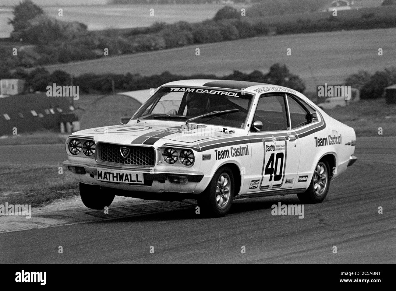 Barrie Whizzo Williams, in 70's saloon car action at Thruxton. Stock Photo