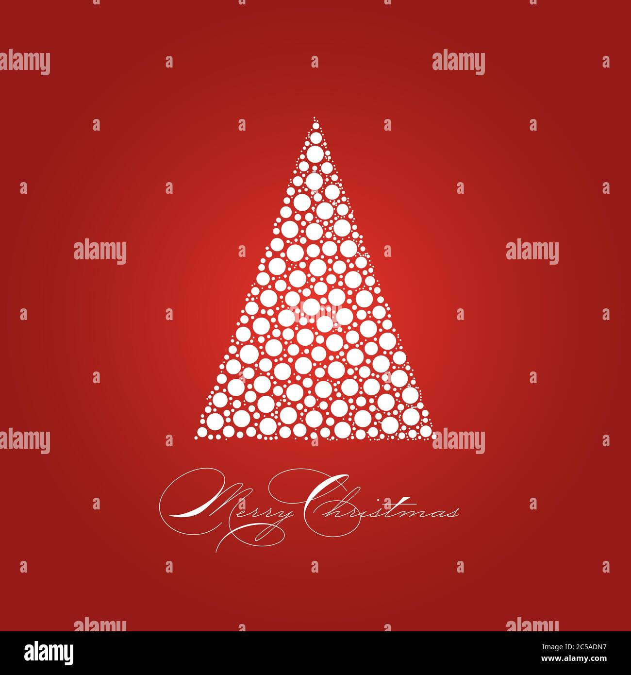 Holiday Card Theme With Dotted Snowy White Christmas Tree On Red Background And Label Merry Christmas Simple Elegant And Modern Vectror Illustration Stock Vector Image Art Alamy