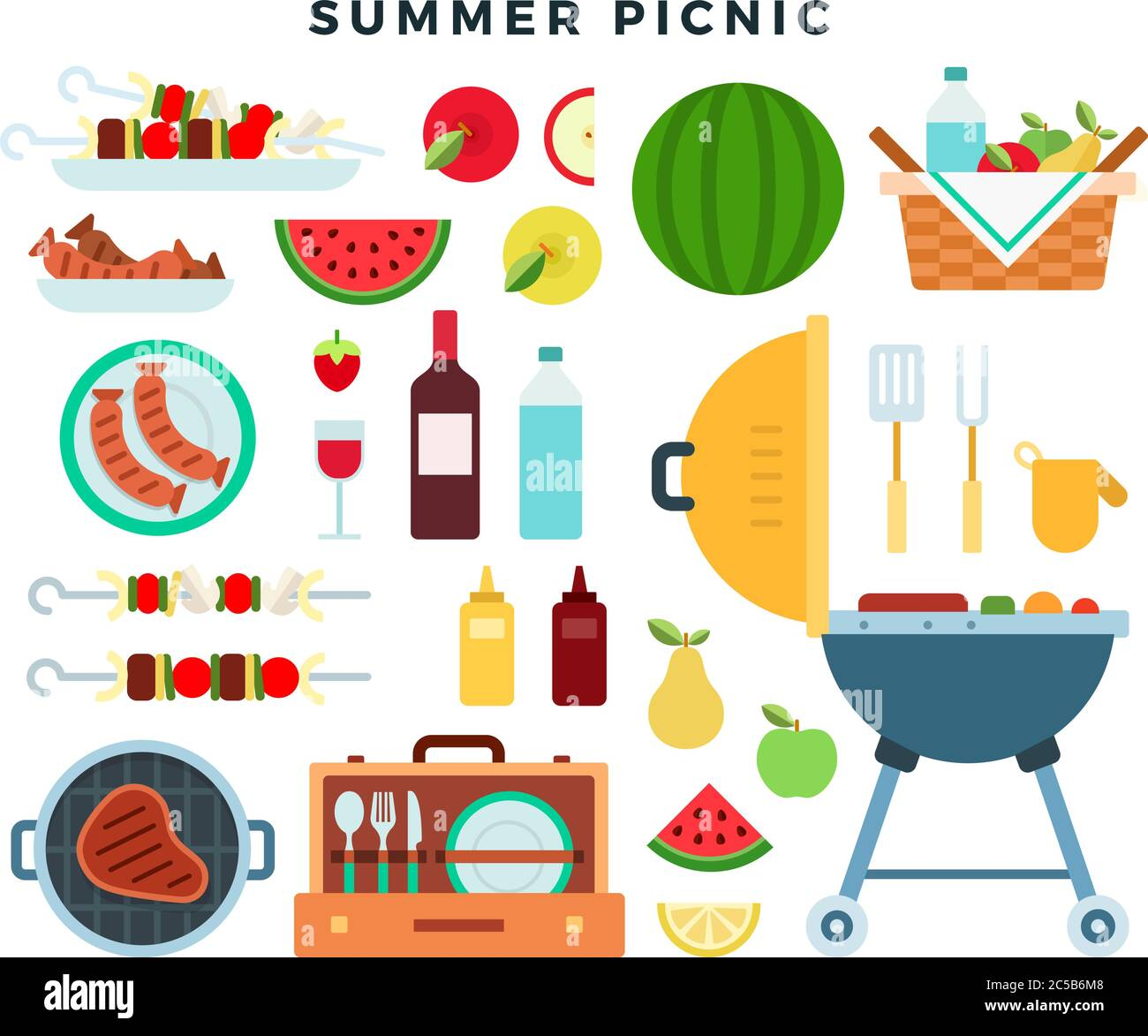 Summer picnic party, icons set. Barbeque elements, food, drinks, picnic basket, cooking utensils. Vector illustration. Stock Vector
