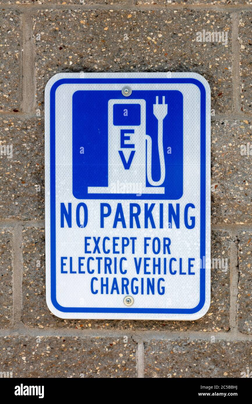Sign, Electric Vehicle Charging station, Southwestern Michigan, USA, by James D Coppinger/Dembinsky Photo Assoc Stock Photo