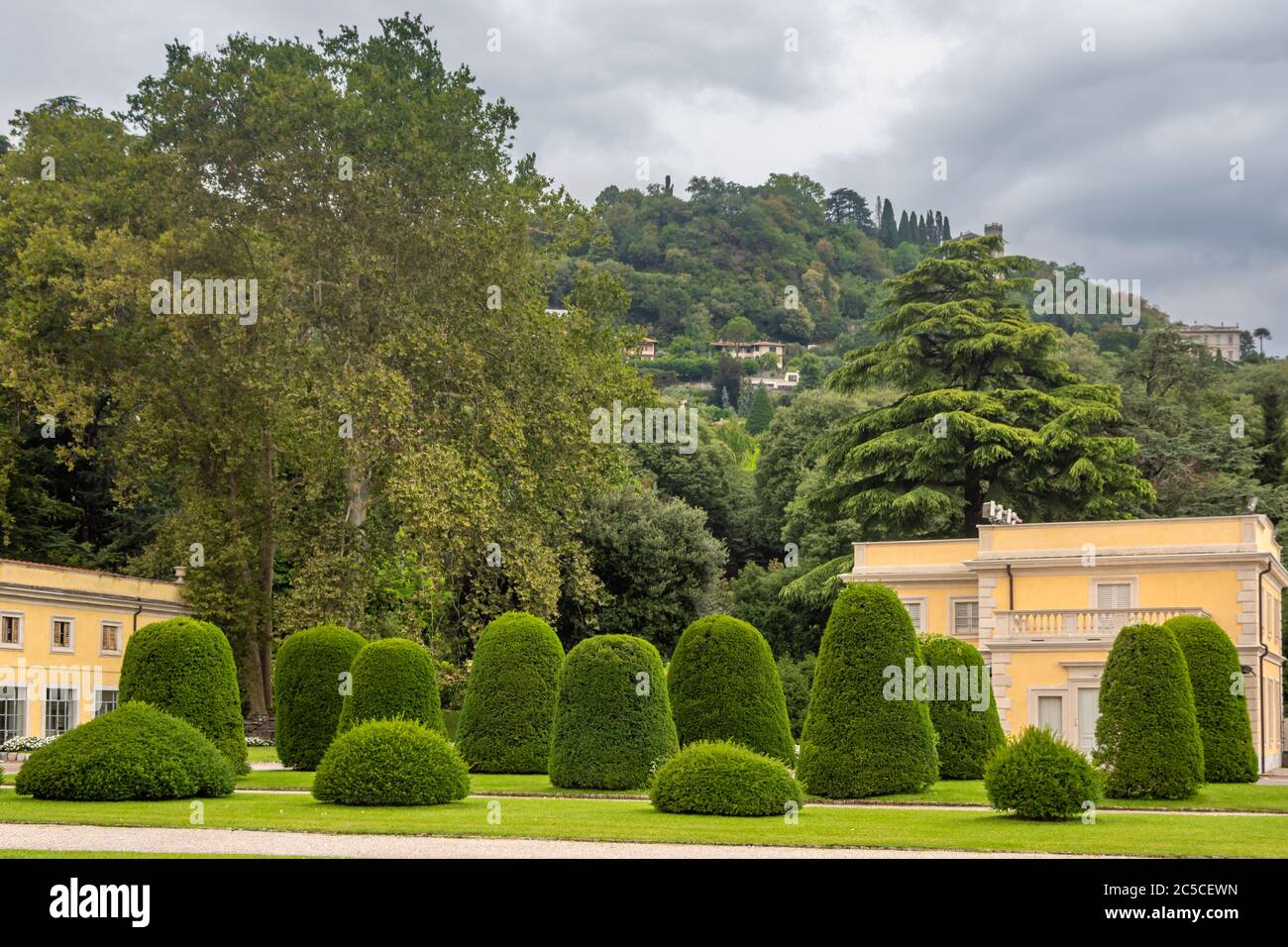 View Of Green Topiary Garden Evergreen Shrubs Trimmed With Different Shapes Creative Gardening Villa Olmo Como Italy Stock Photo Alamy