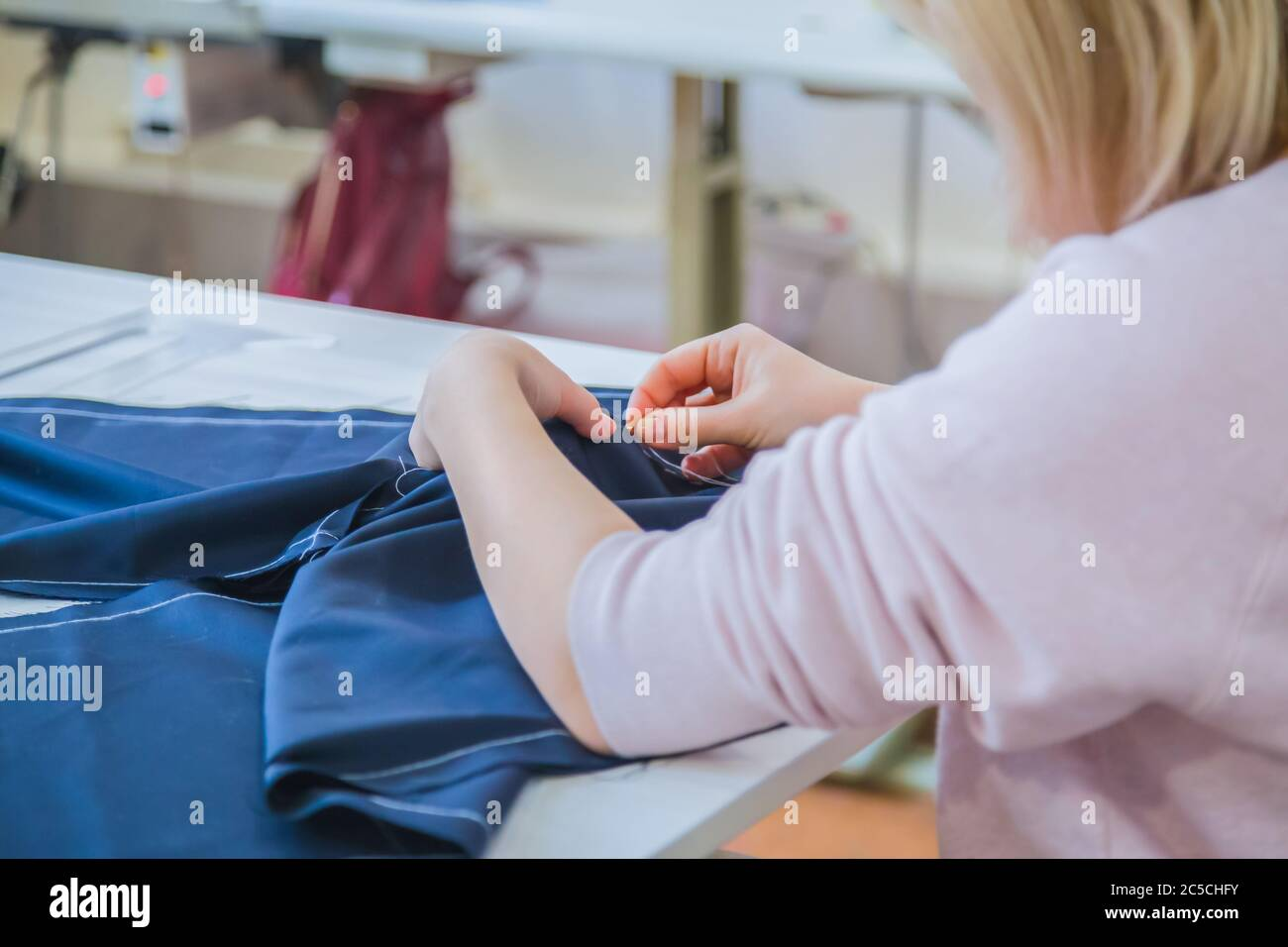 Professional Tailor Fashion Designer Working At Sewing Studio Preparation Process Fashion Clothing Small Business Industry Needlework Stock Photo Alamy