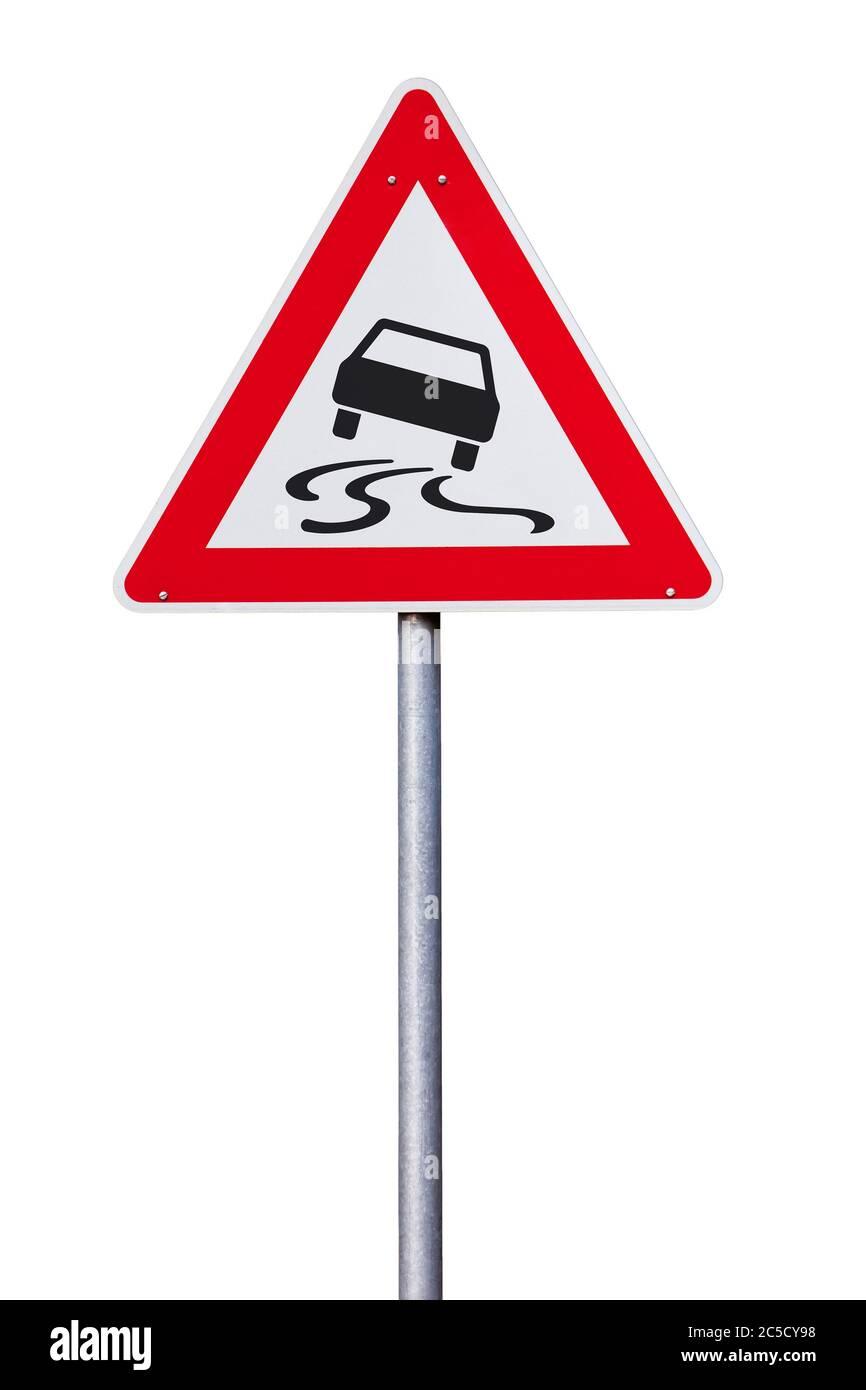 Isolated Traffic Sign - Danger Warning slippery road Stock Photo