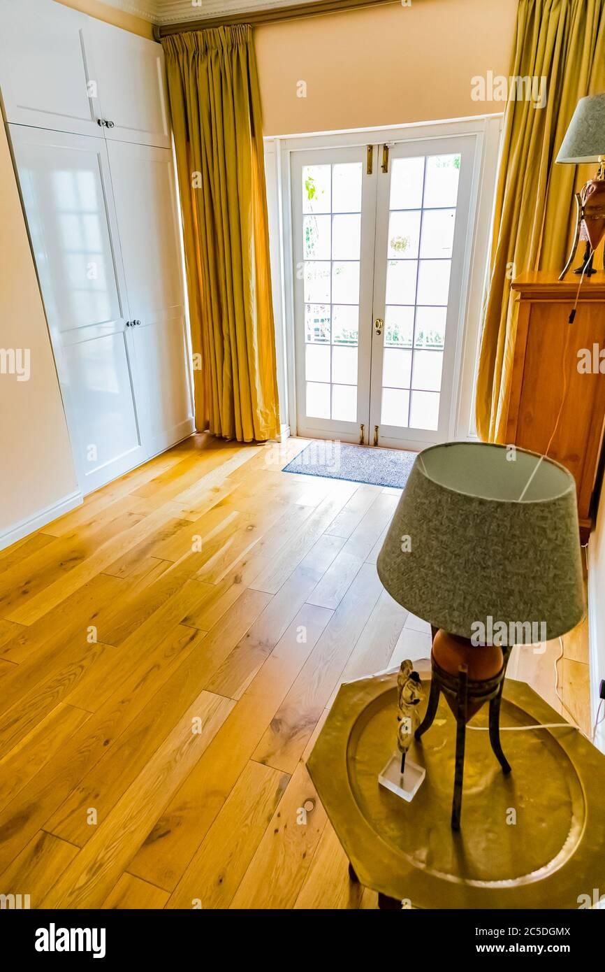 Cape Town South Africa February 6 2020 Inside Interior Of Empty Bedroom With Wooden Floors In Up Market House In The Suburbs Stock Photo Alamy