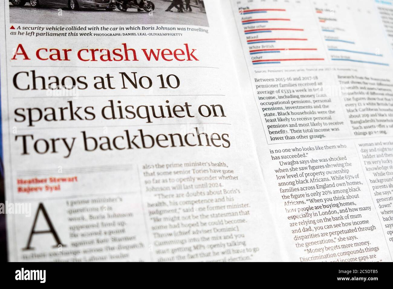 """"""" 'A car crash week' """"Chaos at No. 10 sparks disquiet on Tory backbenches""""  in Guardian newspaper 20 June 2020 London UK Stock Photo"""