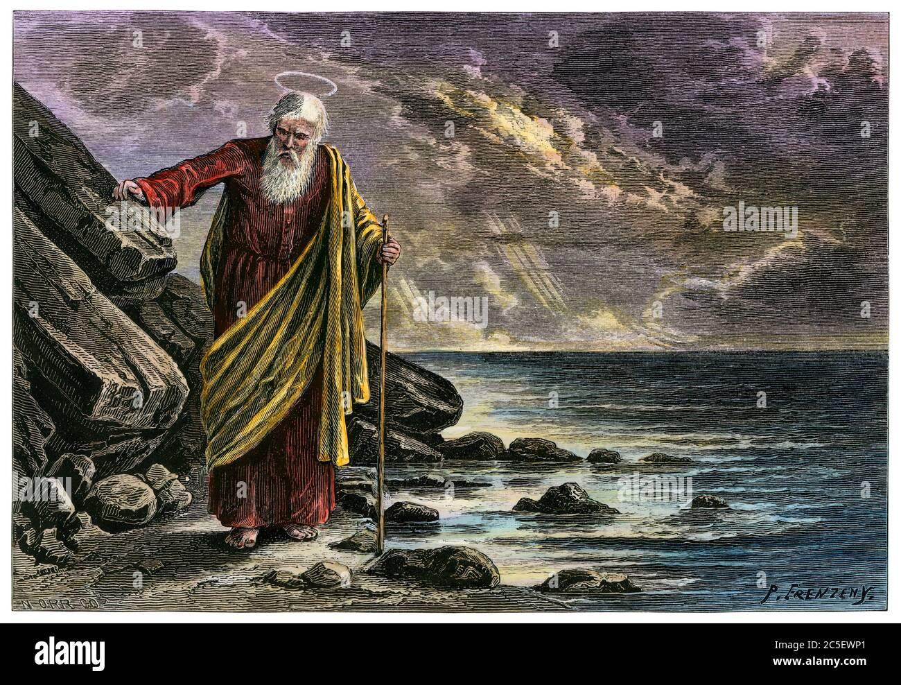 Saint John the Apostle. Hand-colored woodcut Stock Photo
