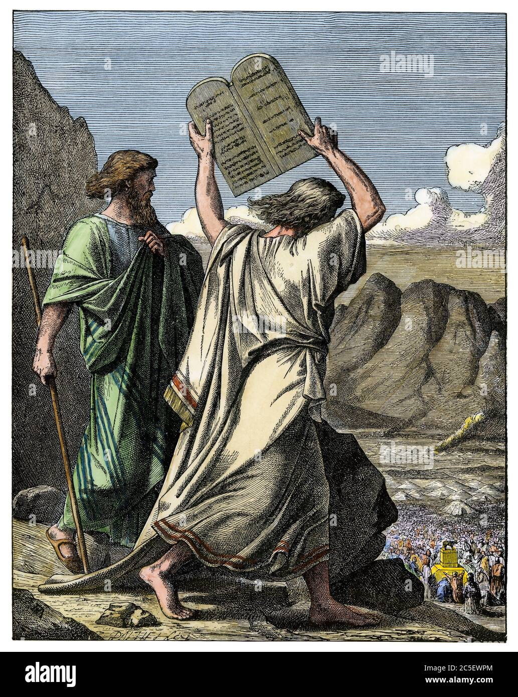 Moses smashing the Ten Commandments tablets after Hebrews' worship of a golden calf. Hand-colored woodcut Stock Photo