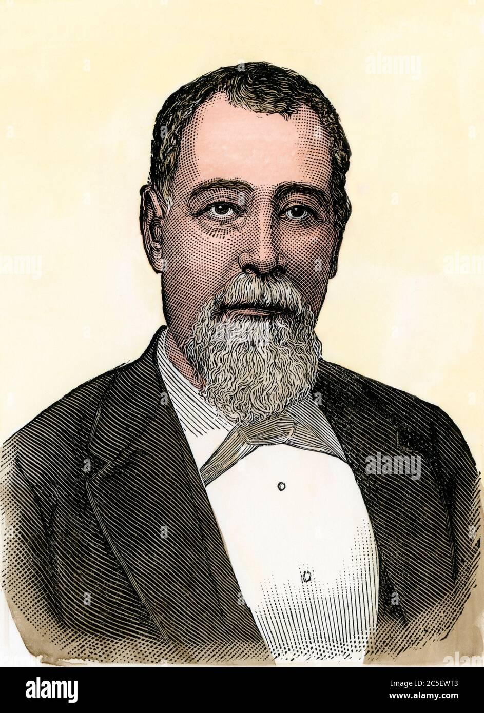 Justo Rufino Barrios, president of Guatemala, 1880s. Hand-colored woodcut Stock Photo