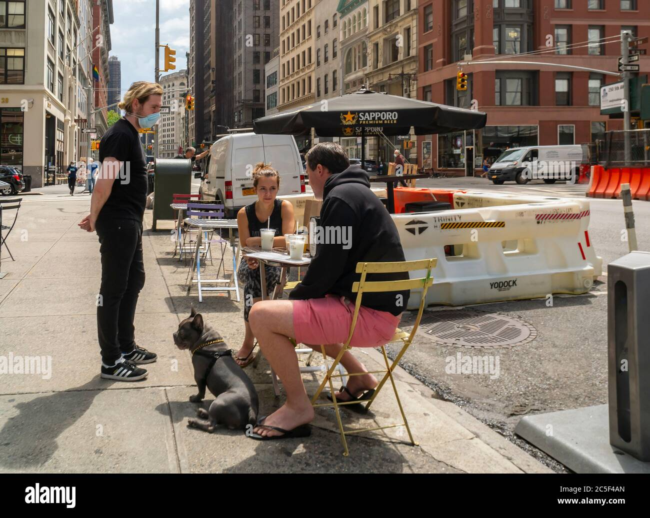 Restaurant in the NoMad neighborhood in New York outdoor dining on Tuesday, June 30, 2020 as Phase Two of the city's reopening plan takes effect. Al fresco dining is now allowed with restrictions as well as in store shopping. (© Richard B. Levine) Stock Photo