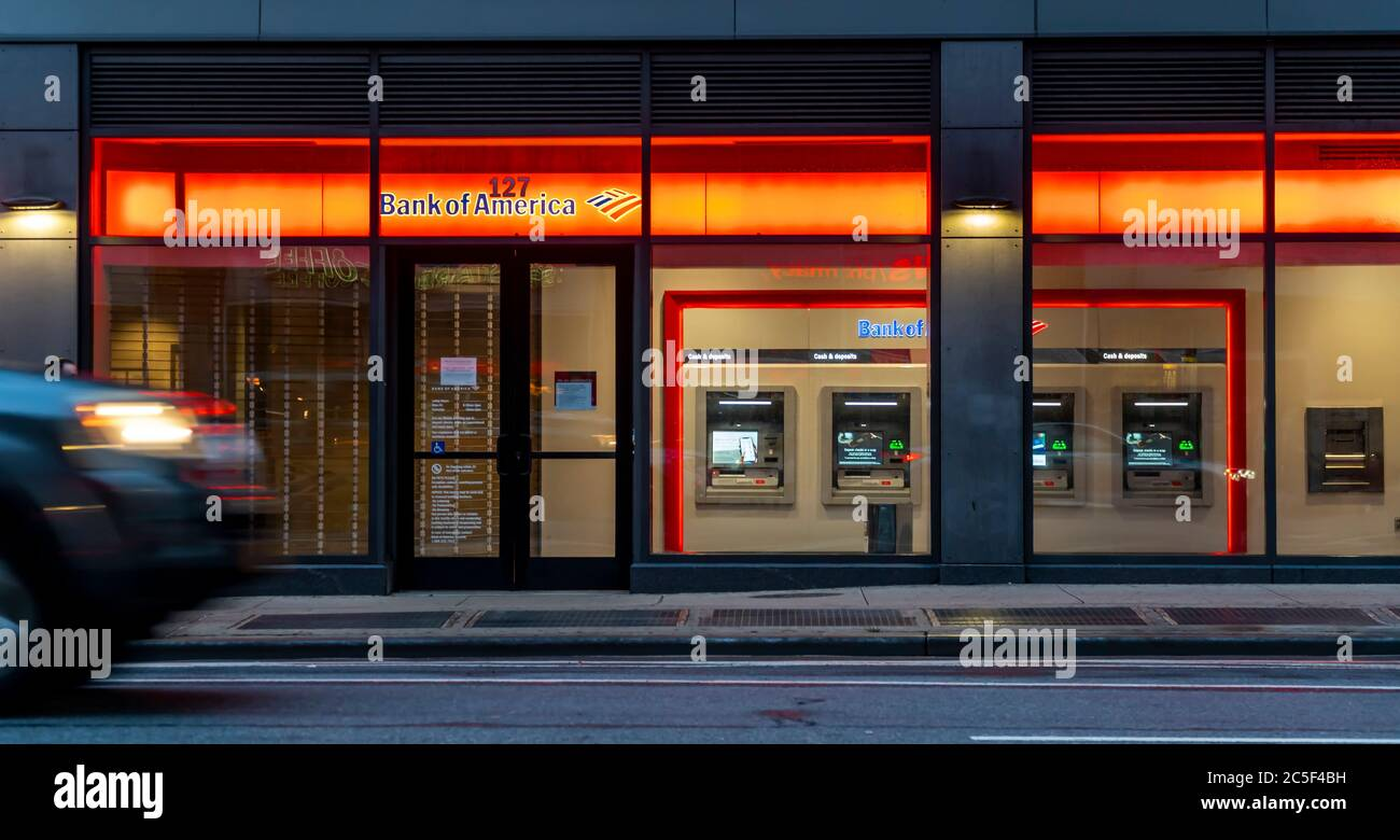 A branch of Bank of America in Chelsea in New York on Sunday, June 28, 2020.  (© Richard B. Levine) Stock Photo