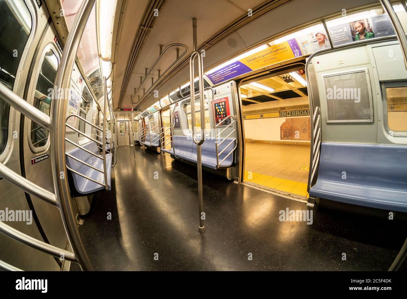 Empty train on the subway in New York on Friday, June 26, 2020. (© Richard B. Levine) Stock Photo
