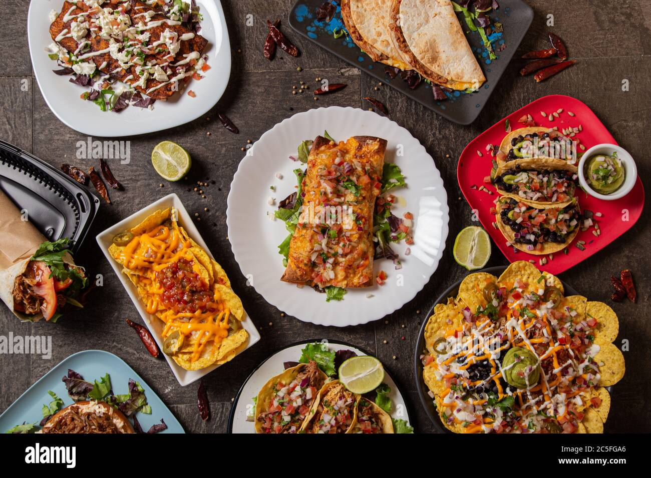 Variety of colorful dishes from typical Mexican cuisine. Top view Stock Photo