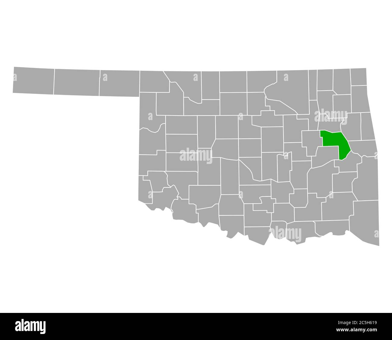 Map of Muskogee in Oklahoma Stock Photo