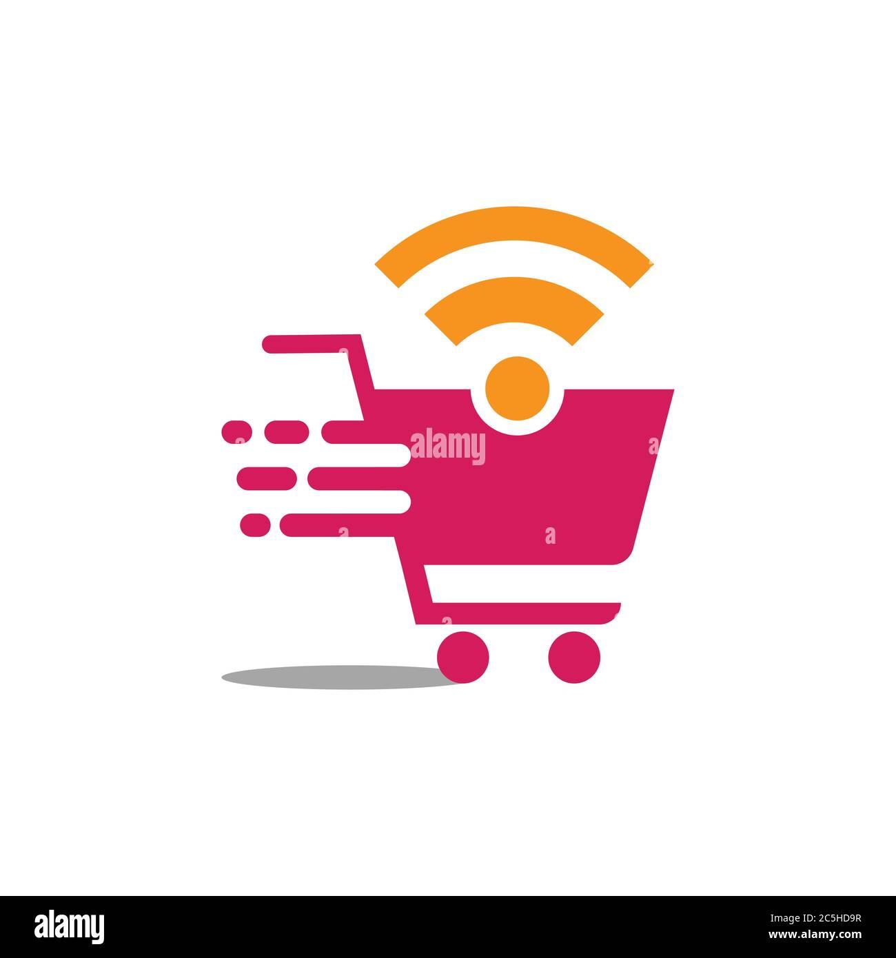 Online shop logo design vector illustrtaion. Mobile online shopping logo  vector template Stock Vector Image & Art - Alamy