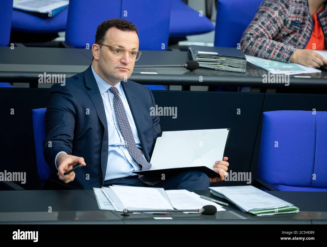 Berlin, Germany. 03rd July, 2020. Jens Spahn (CDU), Federal Minister of Health, sits in the plenary session of the German Bundestag. The main topics of the 171st session of the 19th legislative period are the adoption of the Coal Exit Act, a topical hour on the excesses of violence in Stuttgart, as well as debates on electoral law reform, the protection of electronic patient data, the welfare of farm animals and the German chairmanship of the UN Security Council. Credit: Bernd von Jutrczenka/dpa/Alamy Live News Stock Photo