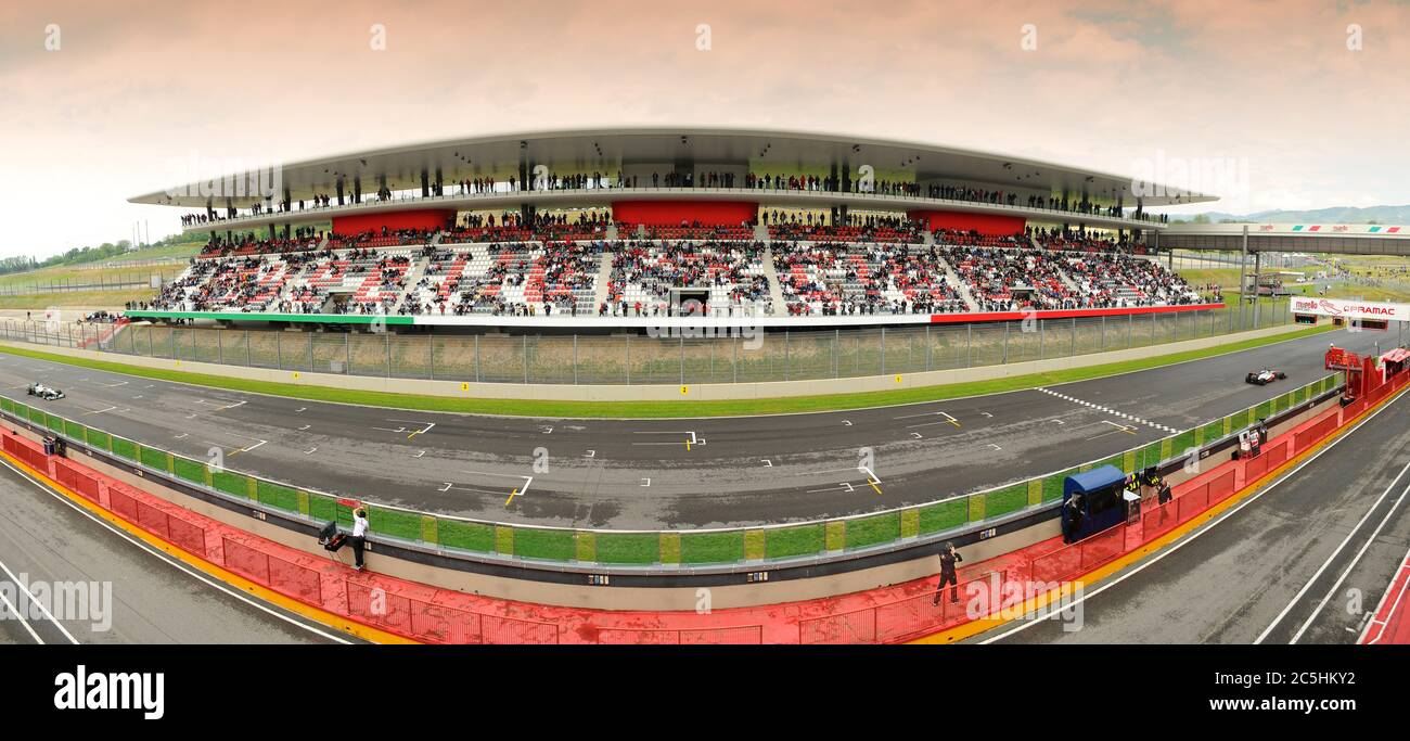 MUGELLO, ITALY - MAY 2012: view of the central tribune at Mugello Circuit during the Official F1 Test Days. Italy Stock Photo