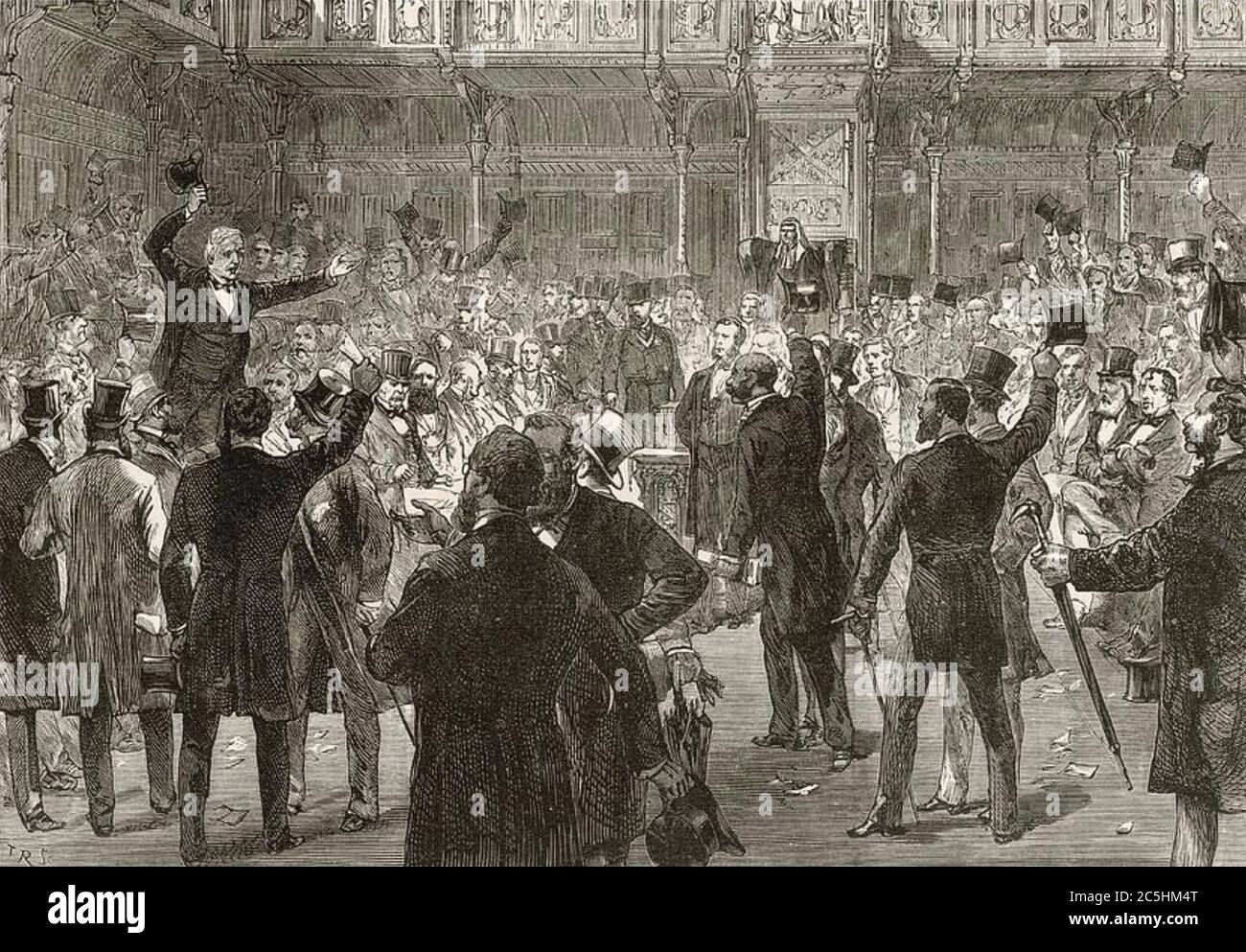 REFORM ACT 1867 is passed in the House of Commons with Disraeli seated at right Stock Photo