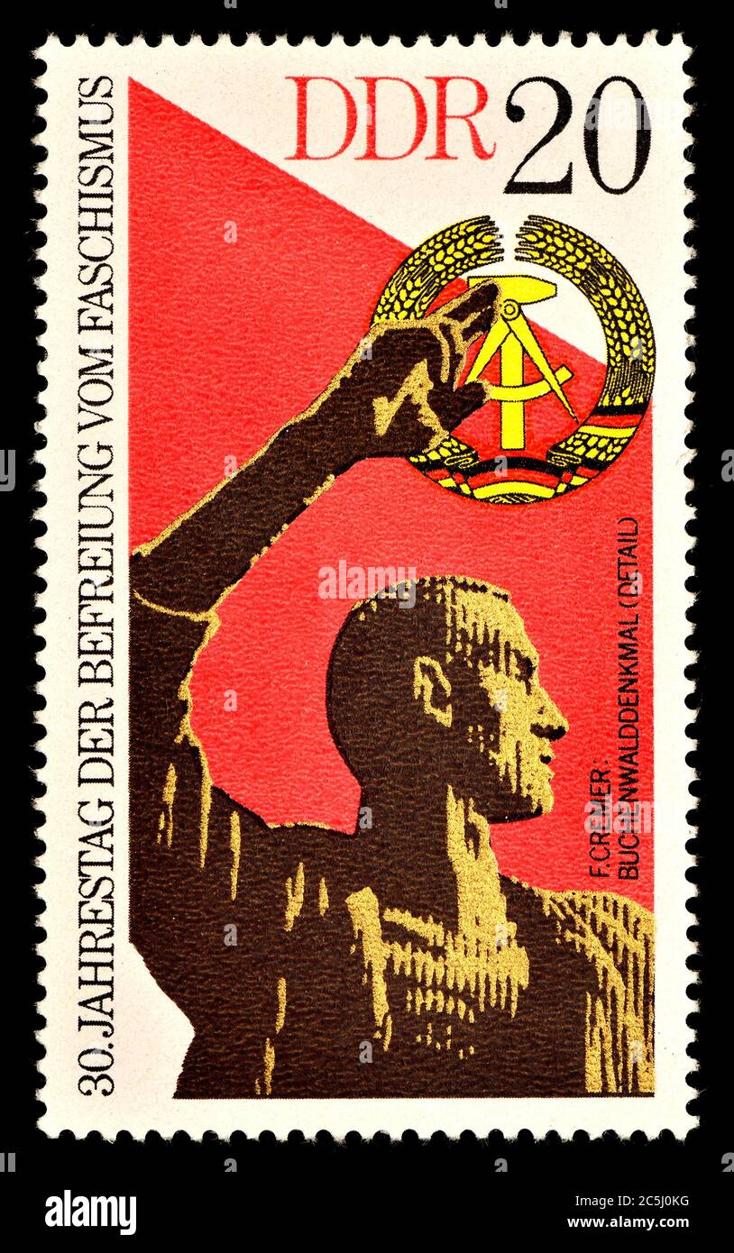 East German postage stamp (1975) : 30th Anniversary of Freedom from Fascism. Buchenwld Memorial Stock Photo