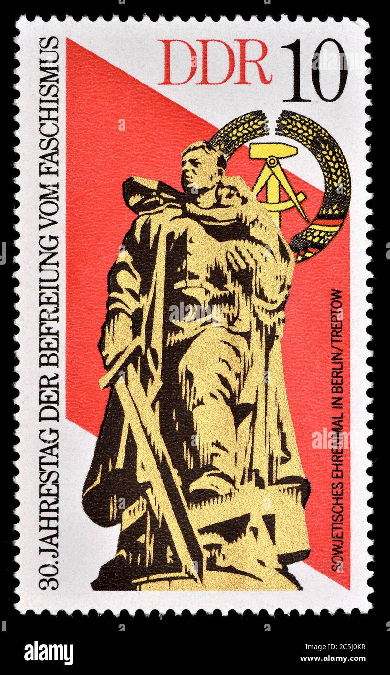East German postage stamp (1975) : 30th Anniversary of Freedom from Fascism. Soviet Memorial in Berlin Stock Photo