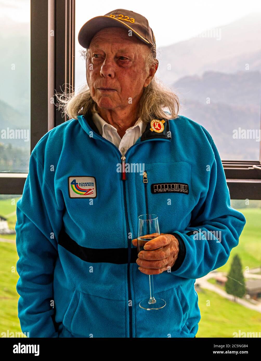 The first German Four Hills Tournament winner Max Bolkhart on the Schattenberg ski jump in Oberstdorf, Germany Stock Photo
