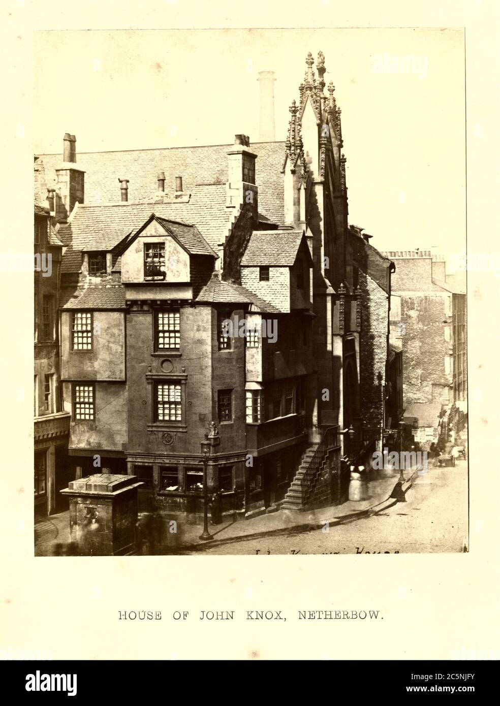 House of John Knox, Netherbow, 1868, Photograph by Archibald Burns (1831–1880). Stock Photo