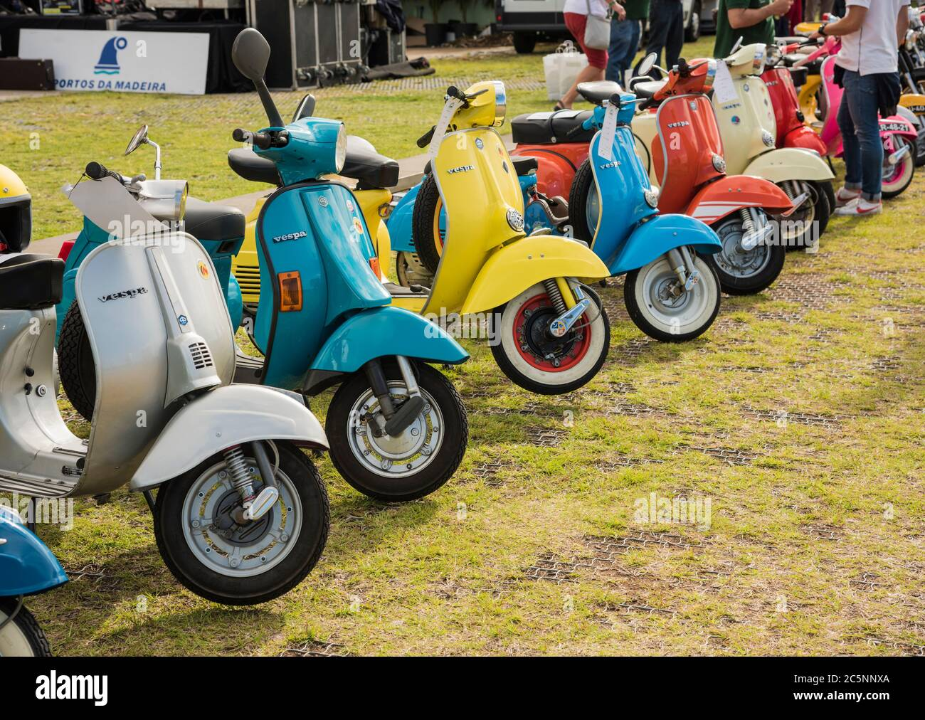 A Row Of Vintage Vespa Motor Scooters On Display At A Classic Motor Rally In Funchal Madeira Europe Stock Photo Alamy