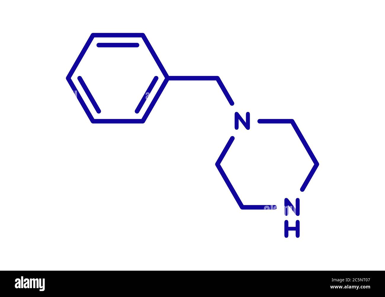 Benzylpiperazine (BZP) recreational drug molecule. Skeletal ...