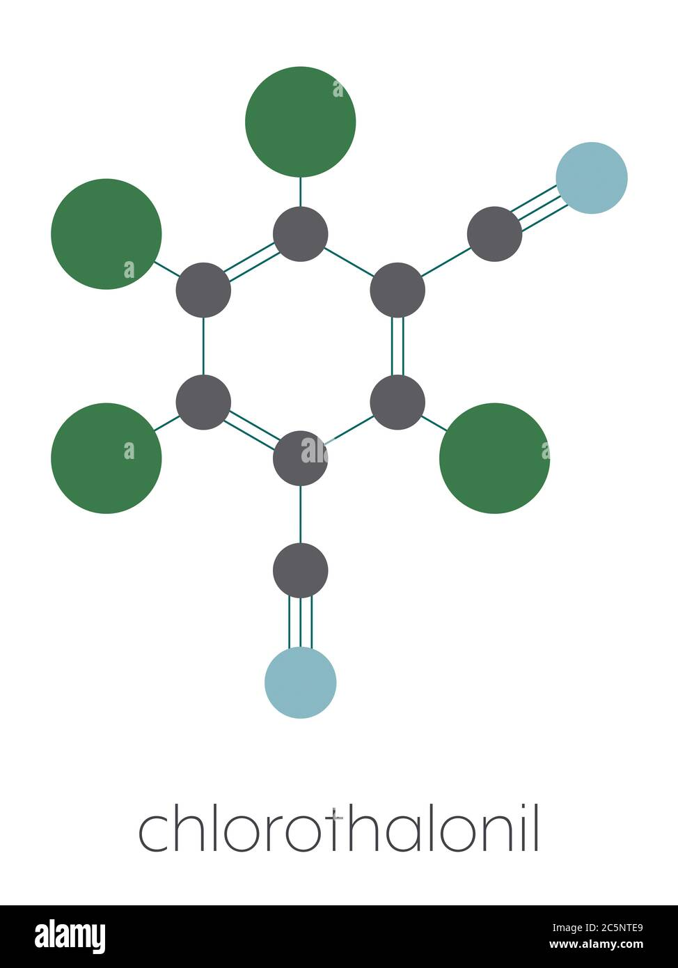 Chlorothalonil pesticide molecule. Stylized skeletal formula (chemical structure): Atoms are shown as color-coded circles: carbon (grey), nitrogen (blue), chlorine (green). Stock Photo