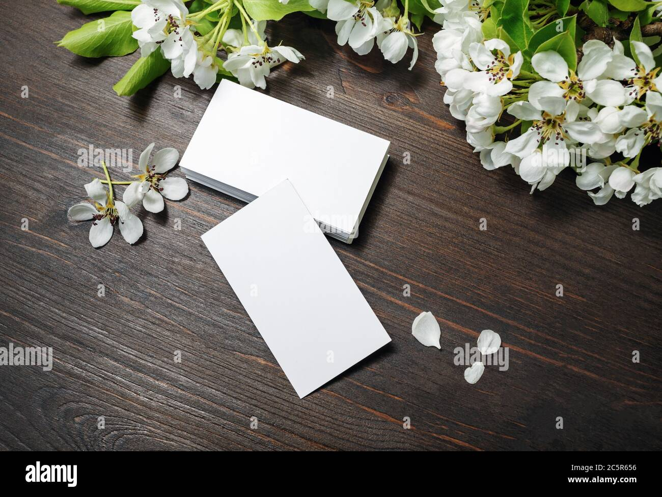 Photo Of Blank Business Cards And Flowers On Wooden Background Template For Id Stock Photo Alamy