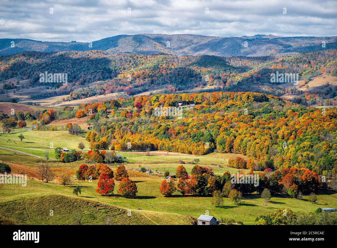 Autumn fall orange red colorful trees forest and farm houses buildings on rolling hills aerial above high angle view landscape in Monterey and Blue Gr Stock Photo
