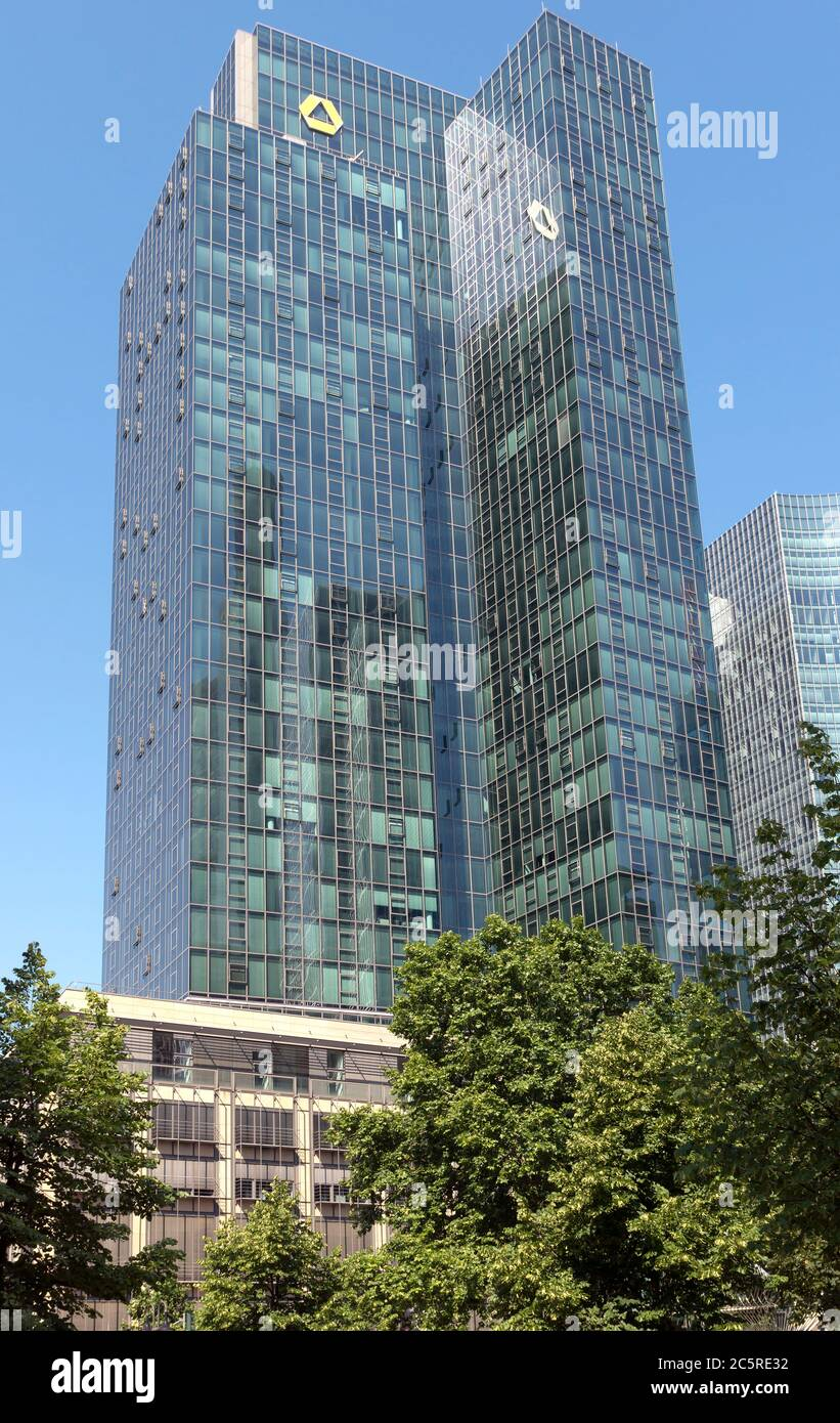 FRANKFURT AM MAIN, GERMANY - JULY 2, 2015: The Europaeische Zentral Bank (European Central Bank) is the central bank for the Euro zone.  Frankfurt am Stock Photo