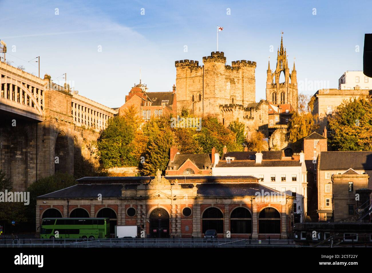 The imposing Norman aged castle which gives the city of Newcastle Upon Tyne its name Stock Photo